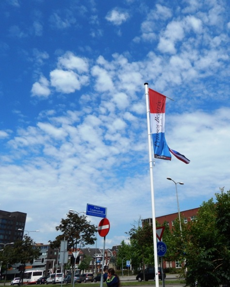 The royal flags flying in Roermond