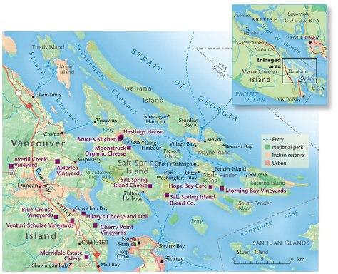 Map of Gulf Islands